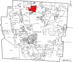 Map of Franklin County Ohio With Worthington Labeled.png