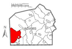 Map of Adams County, Pennsylvania highlighting Hamiltonban Township