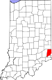 Map of Indiana highlighting Dearborn County.svg