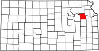 Map of Kansas highlighting Shawnee County