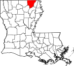 State map highlighting Morehouse Parish