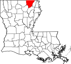 Harta e Morehouse Parish në Louisiana