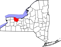 map of New York highlighting Monroe County