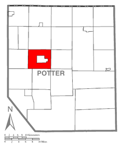 Map of Potter County, Pennsylvania Highlighting Eulalia Township.PNG