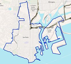 Boundaries of San Pedro as drawn by the Los Angeles Times