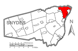 Map of Snyder County, Pennsylvania highlighting Monroe Township