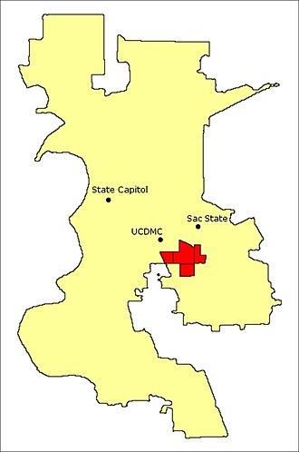 Tahoe Park, Sacramento, California - Map of Tahoe Park neighborhoods relative to the city of Sacramento and notable landmarks