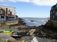 Marblehead Massachusetts view from town between buildings towards harbor.JPG
