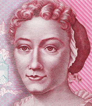 Merian family - Frankfurt-born naturalist and illustrator Maria Sibylla Merian (1647-1717), depicted on the 500 DM banknote