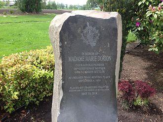 Marie Aioe Dorion - Dorion historic marker outside St. Louis Catholic Church