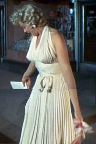 White dress of Marilyn Monroe - Monroe stands with a white dress in the theatrical trailer of the 1955 film The Seven Year Itch.