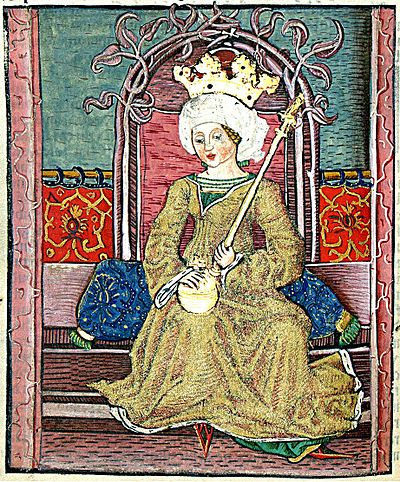 Sigismund's first wife, Mary I, Queen of Hungary. Mary (Chronica Hungarorum).jpg