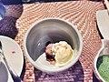 Mascarpone ice cream, red bean, chestnuts, rice crackers, green tea sauce.jpg