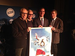 Mayor Garcetti with the directors of his favorite movie, Airplane! (16834887371).jpg