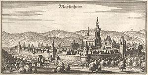Meisenheim - Maÿsenheim in the 17th century (Matthäus Merian)