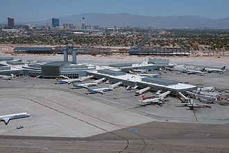McCarran International Airport - The finished D Gates in May 2009, with Terminal 3 under construction in the background