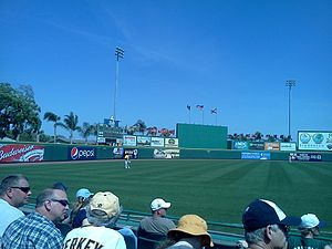 LECOM Park - The outfield in 2011 with the Pirates' José Tábata in left field and Andrew McCutchen in center.