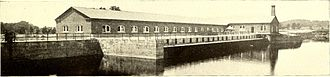 Mechanicville Hydroelectric Plant - Exterior of the Mechanicville New York Hydroelectric plant in 1898