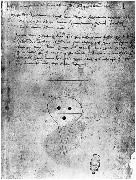 The late medieval mark of the Medici Bank (Banco Medici), used for the authentication of documents. Florence, Biblioteca Nazionale Centrale, Ms. Panciatichi 71, fol. 1r. Medici Bank mark, Firenze, Panciatichi 71.jpg