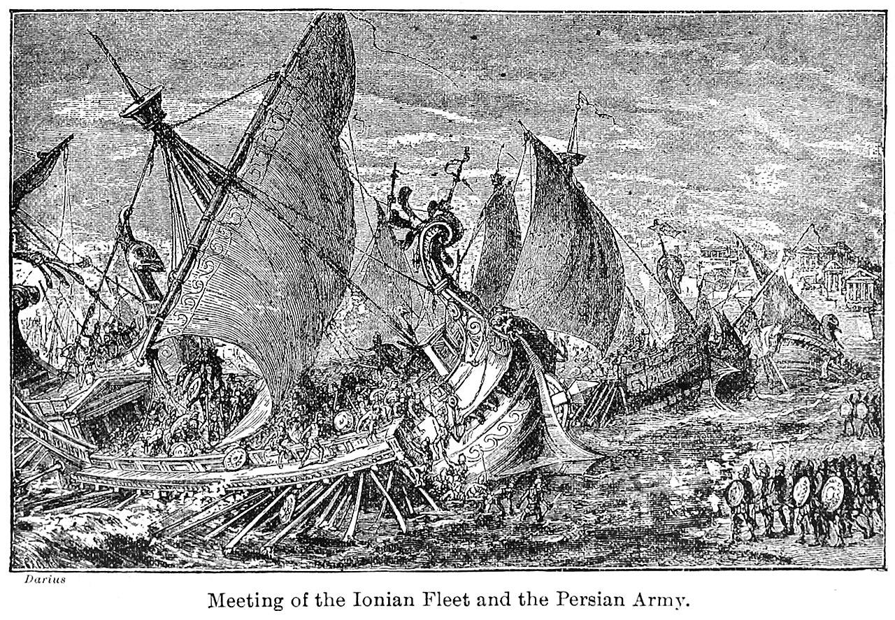 ناوگان یونان و ارتش ایران در مقابل یکدیگر قرار میگیرند.