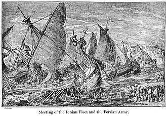 European Scythian campaign of Darius I - Junction of the Ionian fleet and the Persian army at the Bosphorus, in preparation for the Scythian campaign. 19th century illustration.