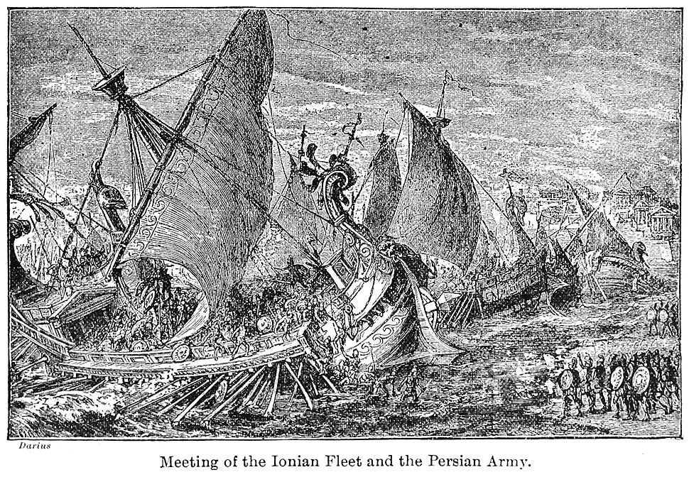 Meeting of the Ionian fleet and the Persian army