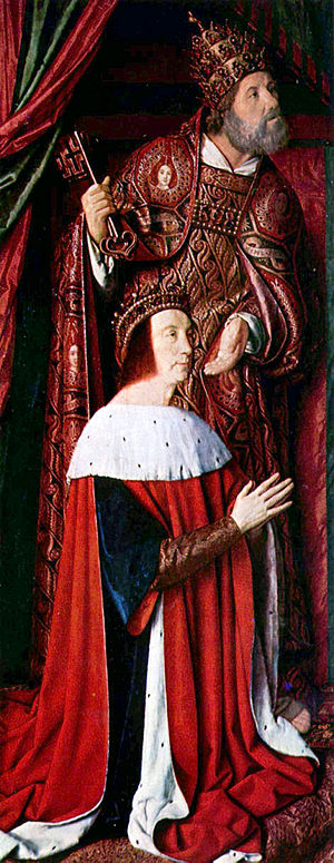 Peter II, Duke of Bourbon - Peter II, Duke of Bourbon and regent of France, presented by Saint Peter