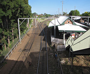 Sydney Freight Network - Marrickville station where the connection to the Illawarra line branches away to the left, passing beneath the line to Port Botany