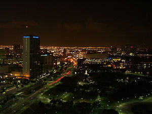 Downtown Miami, as seen from the Intercontinental Hotel at night.