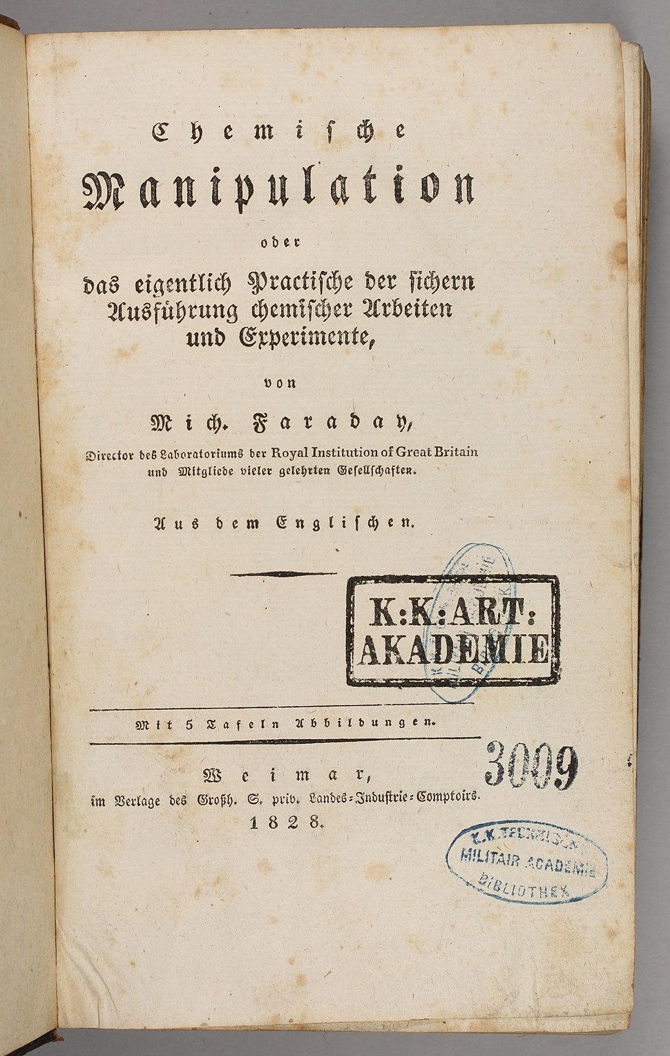 Michael Faraday 1828 Chemische Manipulation