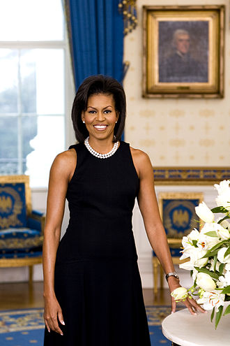 Michael Kors - Michelle Obama's first term official portrait showing her wearing a dress designed by Kors