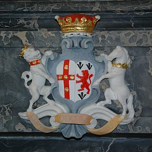 Earl of Jersey - Coat of arms of the 3rd Earl of Jersey at Middleton Stoney church, impaled with the arms of Egerton, his in-laws