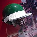 Mike Hawthorn helmet with rain visor Museo Ferrari.jpg
