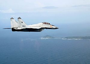 Indian Naval Air Arm - A MiG-29K of the Indian Navy in flight over Indian islands