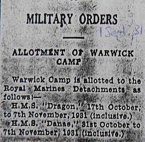 Warwick Camp (Bermuda) - Military Orders for the allotment of Warwick Camp in October and November, 1931