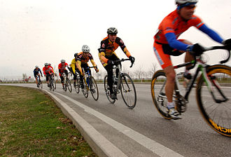 Road bicycle racing - Cyclists drafting behind one another, forming a paceline