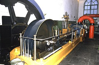 Stationary steam engine - Mill engine, Queen Street Mill, Burnley. William Roberts horizontal tandem compound engine - 'Peace'.