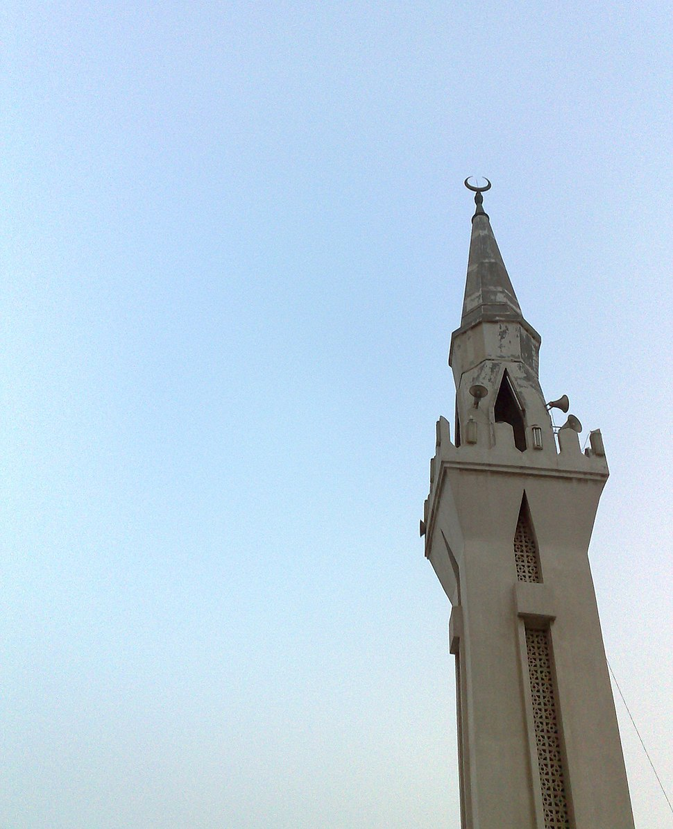 Minaret of a mosque in the center of jubail town proper. Saudi Arabia.4-23-2010