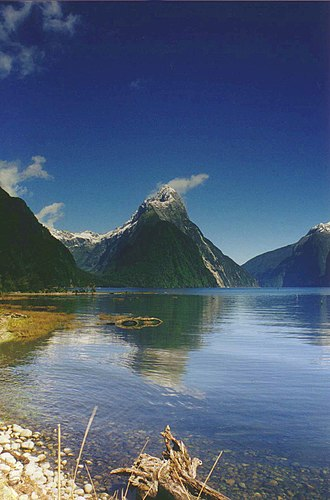 Milford Sound - Mitre Peak, towering over Milford Sound