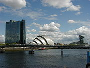 Pacific Quay on the River Clyde, an example of the regeneration of Glasgow and the diversifying Scottish economy