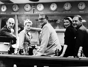 Monitor (NBC Radio) - Monitor Sunday afternoon and evening staff in Radio Central, 1957.  From left: Frank Gallop, Lorna Lynn (Monitor Medley Girl), Dave Garroway, Tedi Thurman (Miss Monitor), and Ben Grauer.