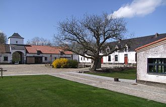 Mont-Saint-Jean, Belgium - Inner yard of Mont-Saint-Jean Farm which was used as military hospital by the British forces at the end of the Battle of Waterloo. Restored in preparation of the bi-centennial of the Battle of Waterloo, June 2015. It now incorporates a small museum.