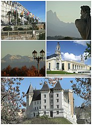Top, left to right: The Boulevard des Pyrénées and the Pic du Midi d'Ossau Middle, left to right: The Palais Beaumont and the Pic du Midi de Bigorre Bottom: The Château de Pau