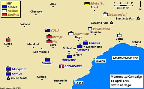 Map of Montenotte campaign, Battle of Mondovì, 21 April 1796