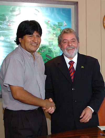Bolivia's Evo Morales with another popular leftist leader, Lula, later ousted and jailed with US backing (and now freed again), From WikimediaPhotos
