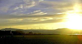 Wind power in Scotland - Ardrossan Wind Farm from Portencross, just after sunrise