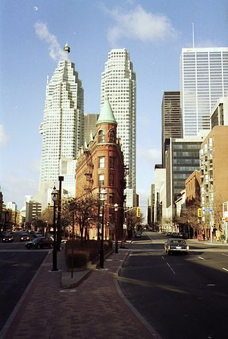 Front Street (Toronto) - Looking west along Front Street towards the intersection of Front and Church Streets, with the Gooderham Building in the foreground and Brookfield Place behind it