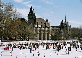 City Park (Budapest) - The City Park Ice Rink with Vajdahunyad Castle in the background