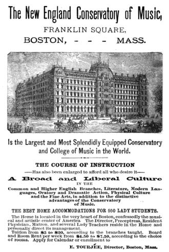 Franklin and Blackstone Squares - New England Conservatory, Franklin Square, Boston, 1880s
