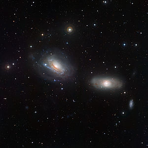 Interacting galaxy - NGC 3169 (left) and NGC 3166 (right) display some curious features, demonstrating that each member of the duo is close enough to feel the distorting gravitational influence of the other. Image from the Wide Field Imager on the MPG/ESO 2.2-metre telescope at the La Silla Observatory.